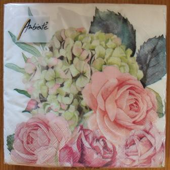 Super Brocante papieren servetten botanische rozen roosjes hortensia MP-31