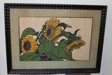 Grafisch werk zonnebloemen, initialen MD_