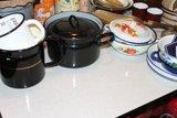 Oude formica keukentafel grijs/wit motief_