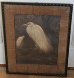 Litho 2 witte reigers H. Verstynen oude schilderijlijst_