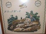 Oud brocante borduurwerk herinnering merklap_