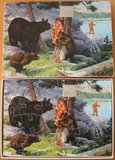 Oude houten puzzel 3 beren en visser in 't bos_
