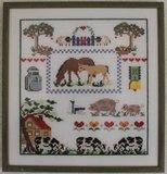 Brocante borduurwerk boerderij in lijst_