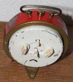 Oude rode metalen brocante wekker Repeteer_