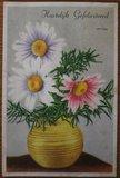 Oude ansichtkaart bloemen Hartelijk Gefeliciteerd 2_