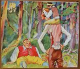 Oude houten blokkenpuzzel Roodkapje sprookjes, groot_
