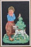 Oude ansichtkaart jongetje met mondharmonica_
