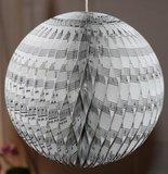 Grote brocante kerstbal muziekpapier, 3D decoratie 18 cm_