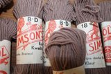 Oude brocante lichtbruine breiwol Simson's_