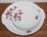 Oud brocante gebaksstel roze bloem, schaal & 3 schotels_