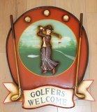 Brocante pub wandbord cafébord Golfers Welcome_