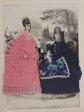 Oude brocante 3D modeprent dames m stoffen jurken_