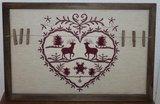 Rood brocante borduurwerk m knijpers v kerstkaarten_