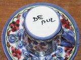 Brocante kop en schotel blauwe bloemen De Pul_