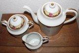 Oud Frans brocante koffie-/theeservies roze roosjes_