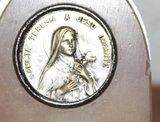 Oude Franse religieuze brocante marmeren plaquette Teresia 1_