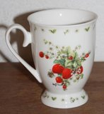 Botanische beker, mok bijtjes op aardbeien Helga Mârtaré_