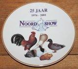 Brocante wandbord Noordshow 1976-2001 vogels/knaagdieren_