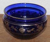 Oude brocante blauwe glazen schaaltje zilver overlay_