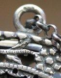 Antiek brocante tasje petit point borduursel roosjes m zilveren beugel_