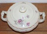 Oude brocante serveerschaal m deksel roze grijze bloemen_