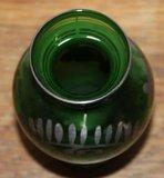 Oude brocante groene glazen vaasje zilver overlay 1_