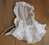 Antiek oud brocante witte kanten gazen mutsje, bonnet_