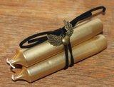 Bundel 3 gouden dinerkaarsjes m zwarte veter en bedeltje_