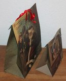 Brocante cadeautasje, gift bag vintage kindjes met kerstboom_