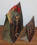Brocante cadeautasje, gift bag vintage kindjes met kerstman_