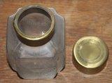 Brocante geslepen glazen voorraad-/opbergpot koperen dop_