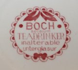 2 Oude brocante rode kopjes & schotels Boch Teadrinker_