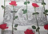 Oude brocante kristallen cakeschaal in rozen doos_