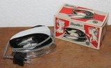 Oude vintage brocante reis strijkbout, strijkijzer Zoeller in doos_