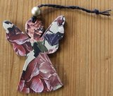 Brocante kartonnen kerstengeltje pastel botanische bloemen 9 cm_