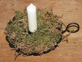 Brocante blakertje, kaarsenkandelaar, van donker metaal schulprand_