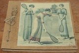 Fotoboekje, album vintage dames op tennisbaan, handgeschept_