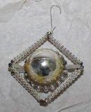 Antieke glazen Gablonzer kerstbal, hanger ruit zilver/geel_