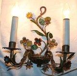 Set oude Franse brocante 2-arms metalen wandlampjes bloemen_