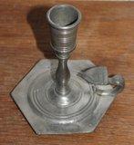 Oude vintage brocante tinnen kaarsenkandelaar, blakertje 98%_