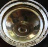 Oude brocante verzilverde (?) kaarsenkandelaar hoger model_