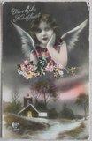Antieke vintage brocante kerstkaart engeltje met kerkje, ingekleurd_