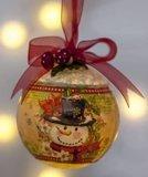 4 Kerstballen wit plastic m lichtgat, 2-delig, 8 cm, hobbymateriaal_
