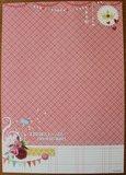 Basispapier achtergrondvel Flower Delight 185, vlaggetjes, ruitjes, vogelkooi_