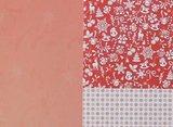 Basispapier achtergrondvel Kerstmis rood ijs sneeuwvlokken_