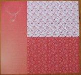 Basispapier achtergrondvel Kerstmis rood rendieren ijskristallen_