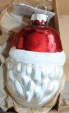 Vintage brocante glazen kerstballen kerstman hoofd gezicht nostalgische 1