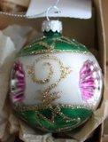 Vintage brocante glazen deukballen kerstballen fuchsia roze groene zilveren glitters 1