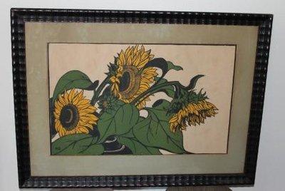 Grafisch werk zonnebloemen, initialen MD