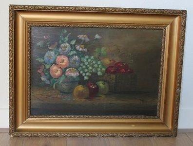 Oud stilleven met bloemen en fruit